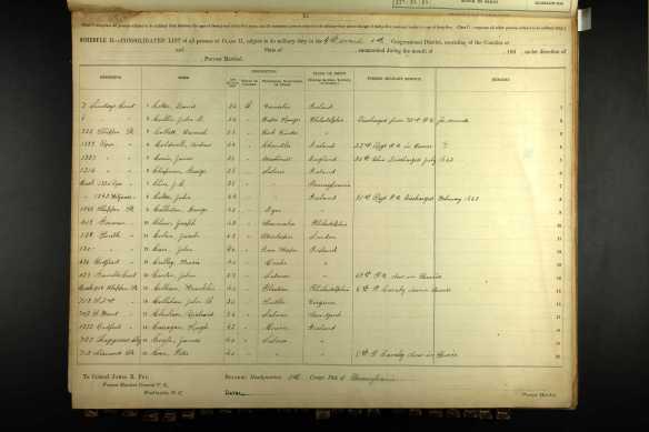 Jacob Cohen Civil War draft registration 1863