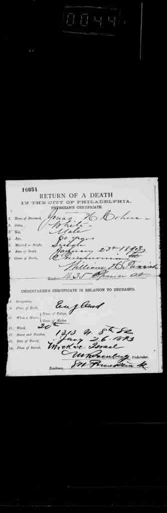 Jonas Cohen 1893 death certificate