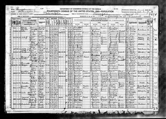 Joseph Cohen and family 1920 census