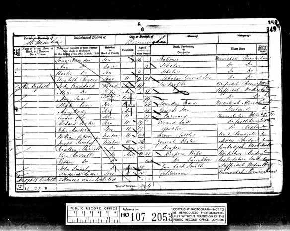 Joseph Jacobs 1851 England census  a visitor