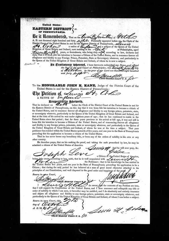 Lewis H Cohen naturalization ED PA 1848