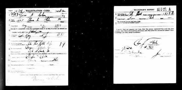 Morris Cohen draft registration for World War I