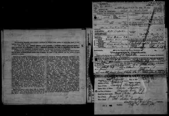 Albert Hochstadter death certificate 1912