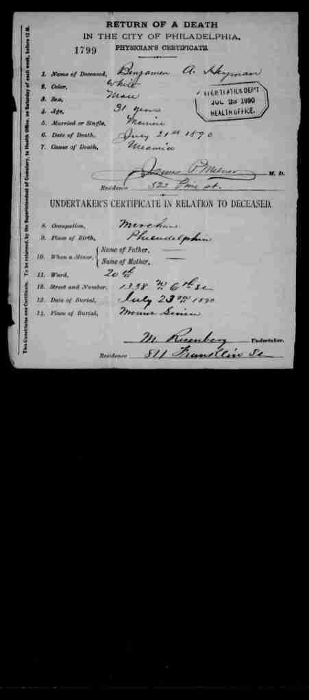 Benjamin Heyman death certificate