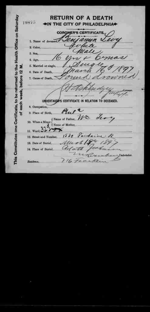 Benjamin Levy death certificate