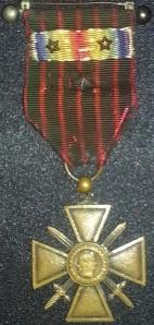 Croix-de-Guerre awarded to Simon L B Cohen 1918