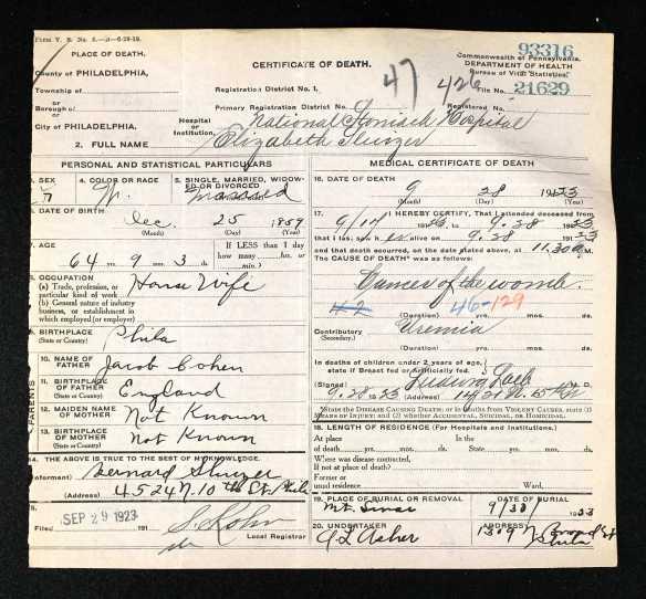 Elizabeth Cohen death certificate 1923