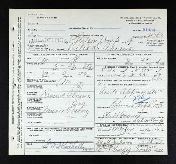 Ellis Abrams death certificate