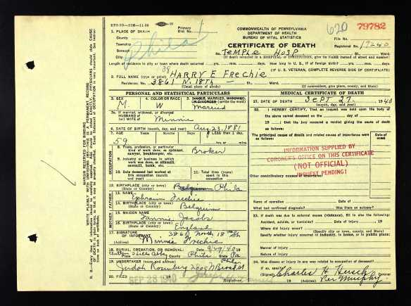 Harry Frechie death certificate 1940