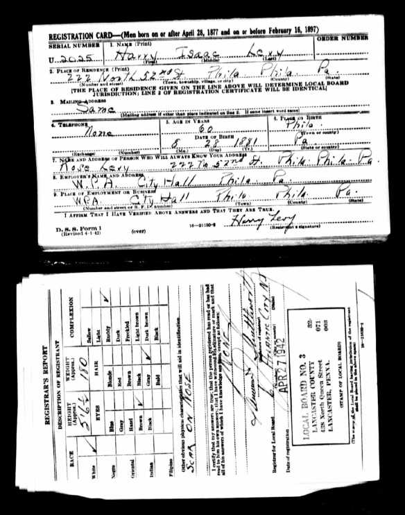 "Isaac ""Harry"" Levy World War 2 draft registration"