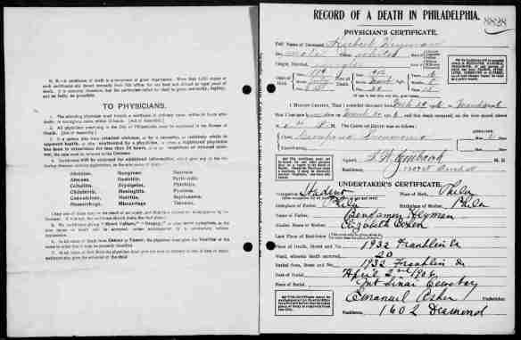 Herbert Heyman death certificate
