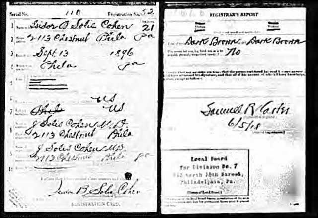 Isidor Solis Cohen World War I draft registration