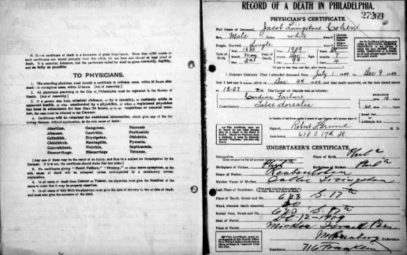 Jacob Livingston Cohen death certificate