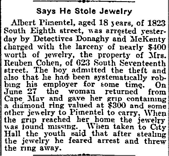 jewelry stolen