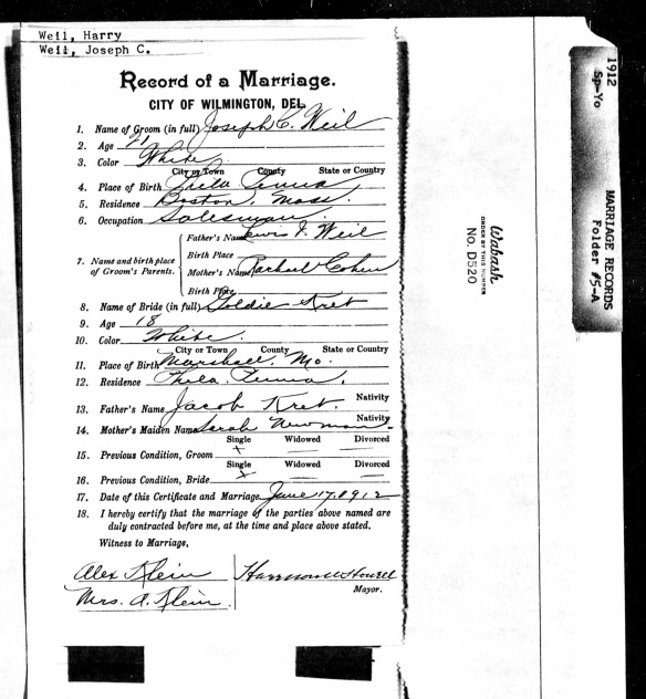 Joseph Weil and Goldie Kret marriage certificate
