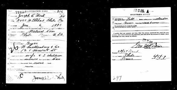 Joseph Weil World War I draft registration