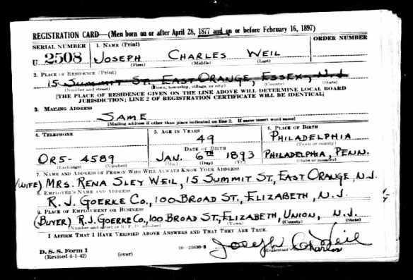 Joseph Weil World War II Draft Registration