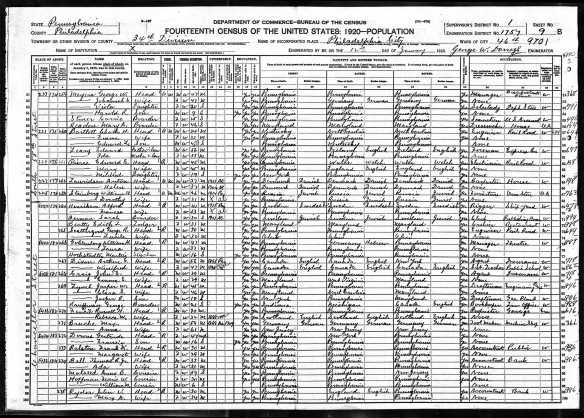 Laura and William Goldenberg 1920 census