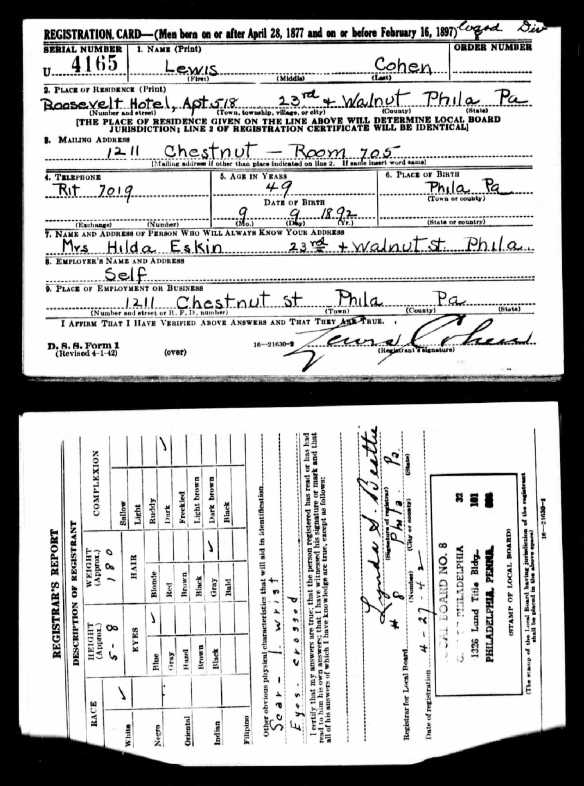 Lewis Cohen World War II draft registration