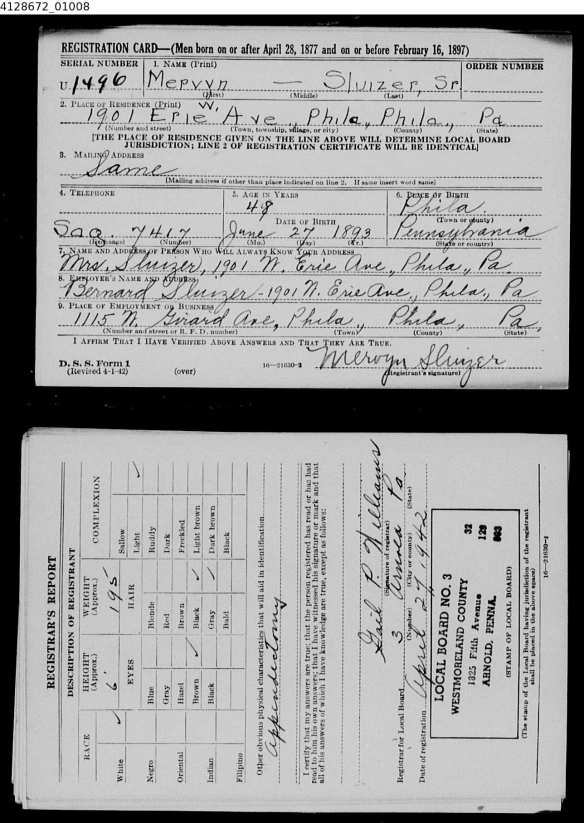 Mervyn Sluizer World War II draft registration