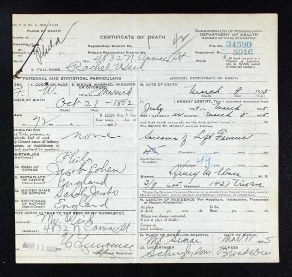 Rachel Cohen Weil death cert 1925