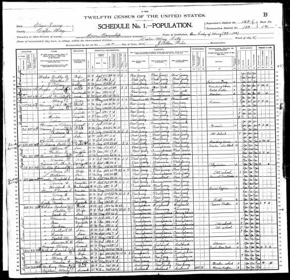 Reuben Cohen and family at 208 Ocean Street 1900 US census