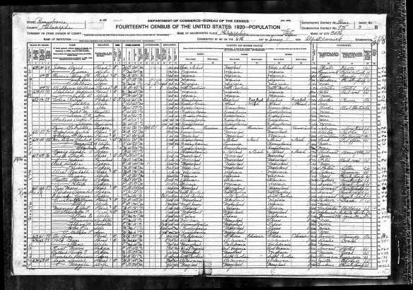 Reuben Cohen and family 1920 census