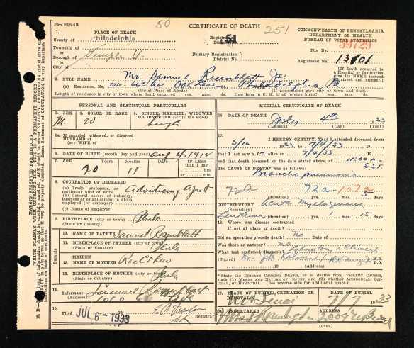 Samuel Rosenblatt, Jr. death certificate 1933