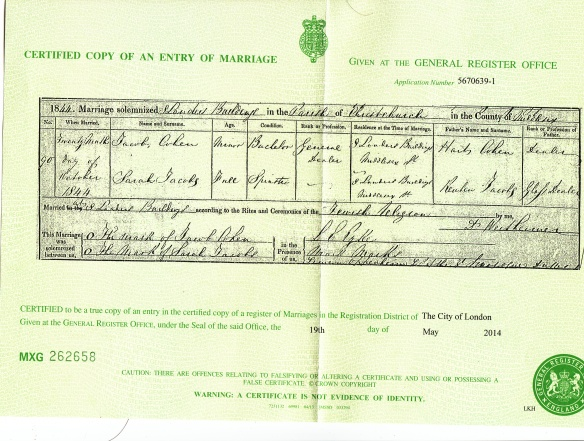 Jacob Cohen and Sarah Jacobs marriage certificate