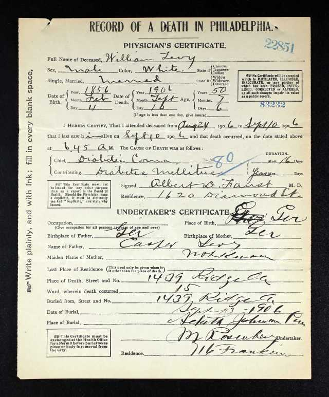 William Levy death certificate 1906