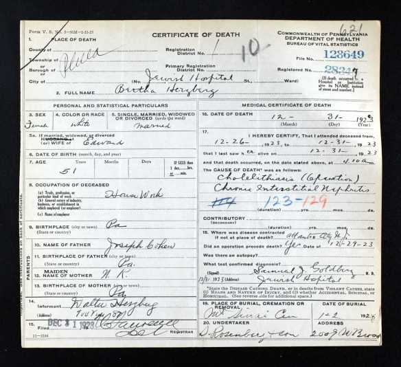 Bertha Cohen Herzberg death certificate