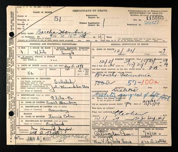 Bertha Hamberg death certificate