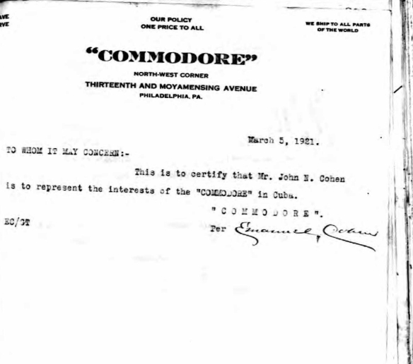 Letter by Emanuel Cohen  March 5, 1921