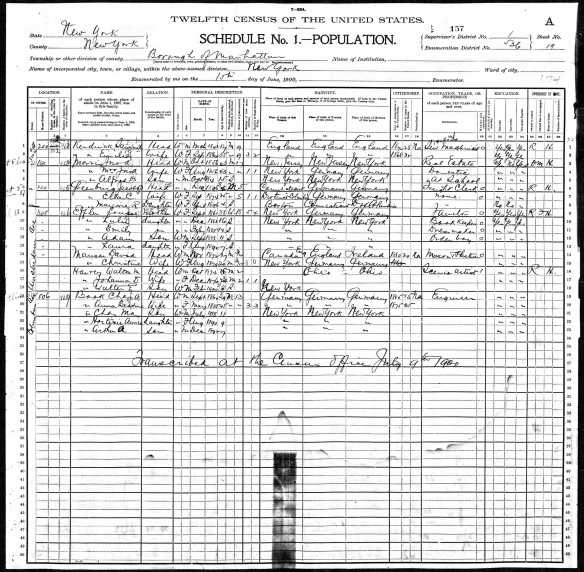 Ella and Jacob Greenberg 1900 census