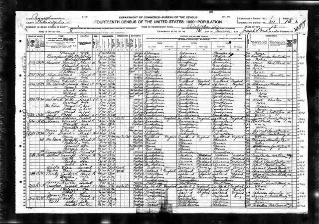 Emanuel Cohen and family 1920 census