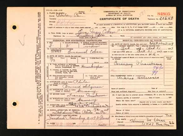 Eva May Seligman Cohen death certificate