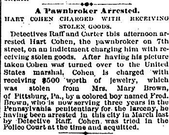 Hart DC Cohen arrested 1885 snip