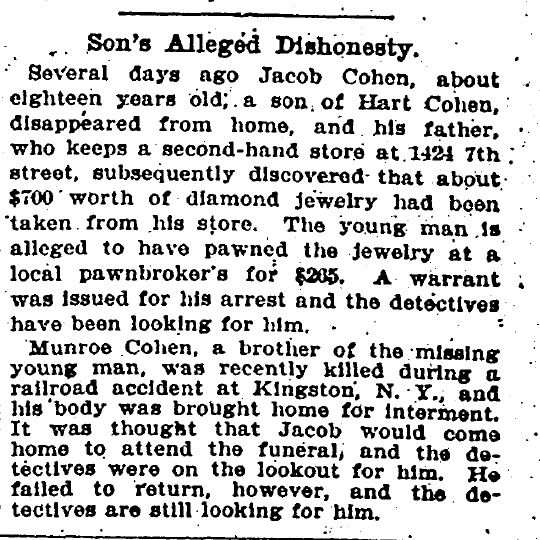 Jacob Cohen son of Hart 1903 arrested