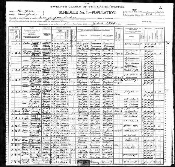 Jacob G. Cohen and family 1900 census