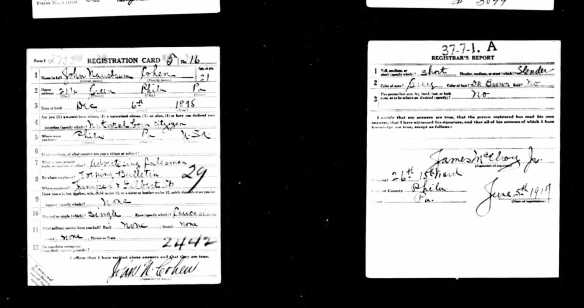 John Cohen Sr. World War I draft registration
