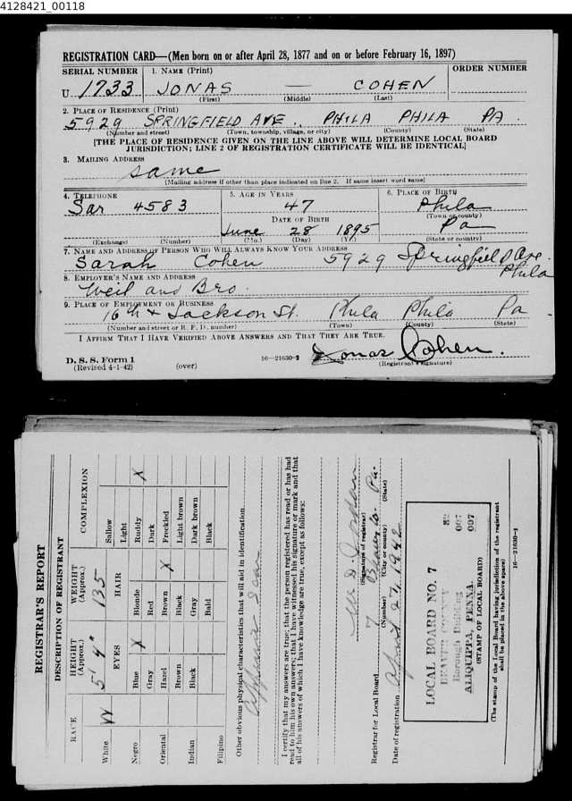 Jonas Cohen, Jr. World War II draft registraiton