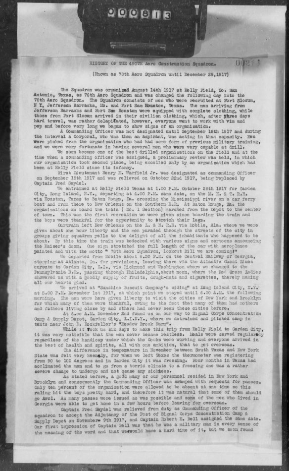 490 Squadron report, p. 1