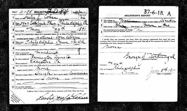 Leslie Cohen World War I draft registration