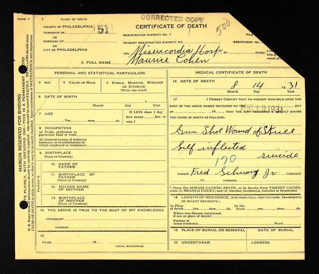Maurice Cohen death certificate 1931