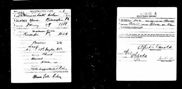 Maurice Cohen World War I draft registration