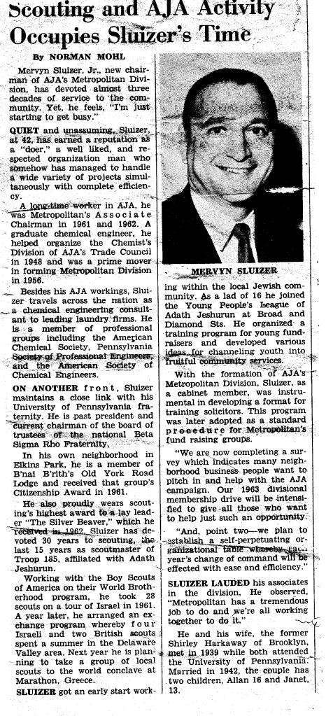 Philadelphia Jewish Exponent August 1962