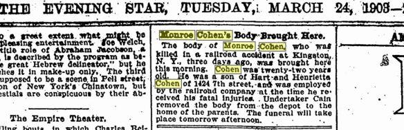Monroe Cohen body 1903