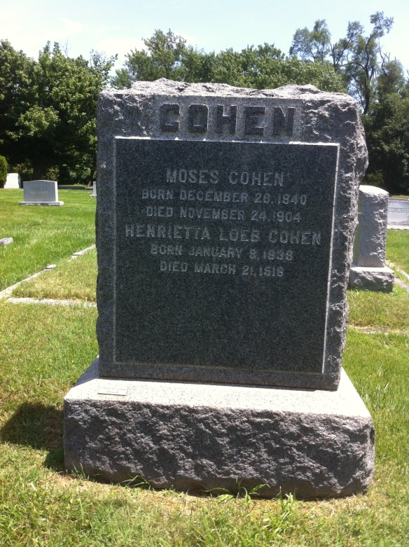 Moses Cohen, Jr. and Henrietta Loeb Cohen headstone