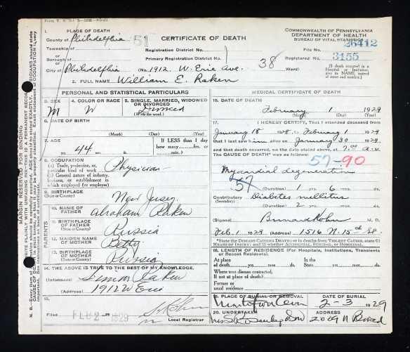 William Raken death certificate