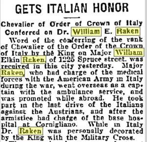 Raken honor 1921